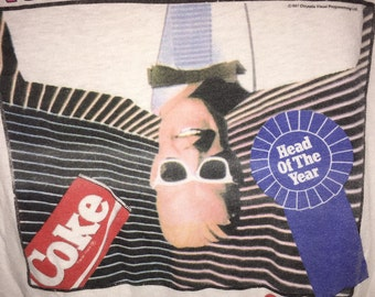 "1987 Max Headroom Coke T Shirt XL! ""Ahead of Our Time"" Catch the Wave Official Promo Coca Cola Tee"
