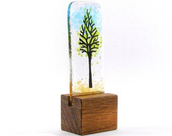 Fused Glass Mini Green Tree in stand Kiln Fired, Gift