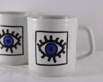 80s vintage cup with single eye / coffee pot / evil eye / nazar mugs for tea and coffee