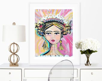 "Warrior Girl Print woman art impressionist modern abstract girl paper or canvas ""Joy"""