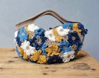 Crazy Daisy - Crocheted Mohair Puffy Happy Sunny Bag