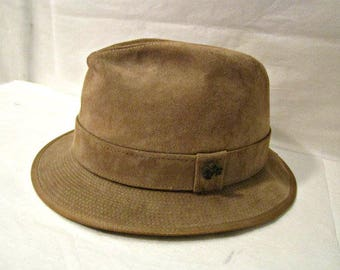 Tan Suede Fedora, Hush Puppies Hat, Leather-like Suede Fedora, Size 7 1/4