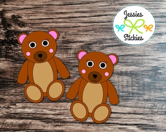 2 Girl Teddy Bear Sticker Die Cuts