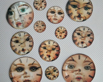 Set of 12 DOLL FACES with Clocks- Creepy doll faces (Sticky or not) steampunk collage creepy dolls, paper doll assemblage, Halloween toppers