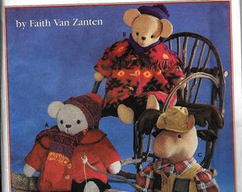 Simplicity 9278 Bear And Moose Sutted Animal Doll And Clothing By Faith Van Zanten Sewing Pattern UNCUT