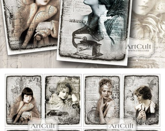 Gift Tags SILVER DREAM 2.5x3.5 inch size images Digital Collage Sheet Printable download vintage style models scrapbooking paper, hang tags