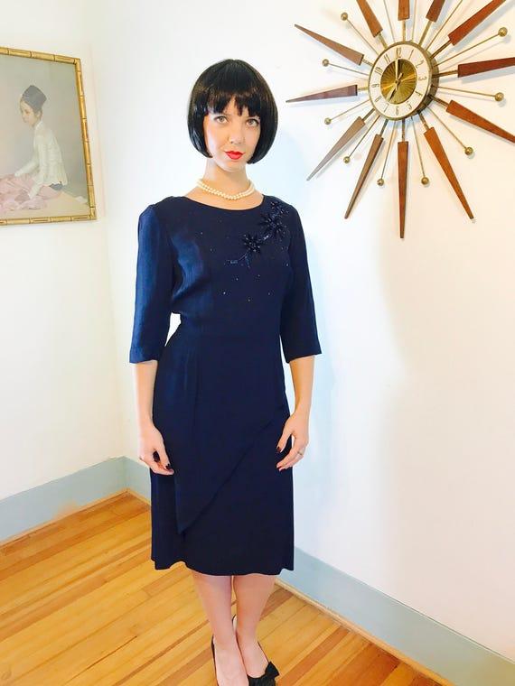 Vintage 50s dress, Norman Rosen dress, Navy Blue, 40s Rayon Dress, Beaded dress, 50s cocktail dress, Peplum dress, 1950s wiggle dress, Sz XL