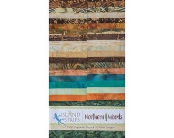 """Island Batik """"Northern Woods"""" Strip Set  40 - 2.5 inch strips - jelly roll, tan batik, green batik, brown batik, orange batik"""