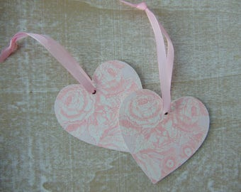 Pink Floral Hearts (pack of 2)