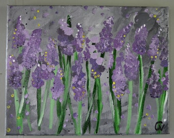 In the purple fields. Original acrylic painting on canvas. Purple flowers