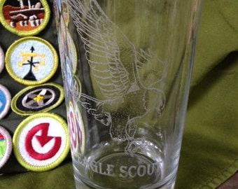 Scout Eagle Glass - Laser Engraved Drinking Glass
