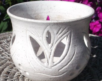 Candle or Tea Bag Holder White Tulip - Handcarved Pottery
