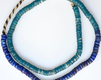 24 Inch Strand of Blue Bohemian Kakamba Beads - Vintage African Trade Beads - KA250