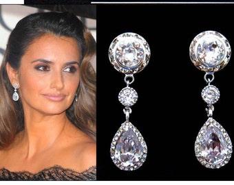 CZ Bridal Earrings, Sterling Silver, Wedding Jewelry Cubic Zirconia Earrings CZ Crystal Earring MoH Gift, Cz Earrings, Wedding Earrings 4-82