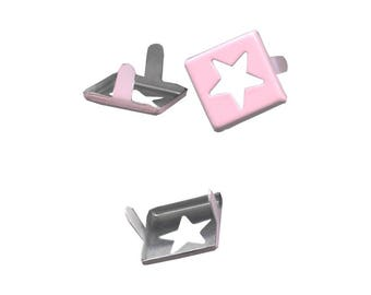Set of 5 claw nails rivets square pink 15mm painted metal star cutout