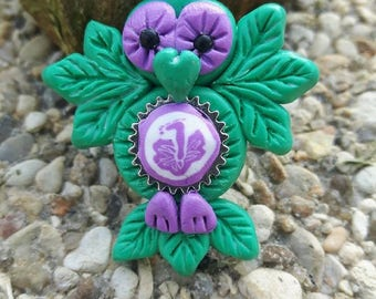 Green Flower necklace, OWL hibiscus Fimo.