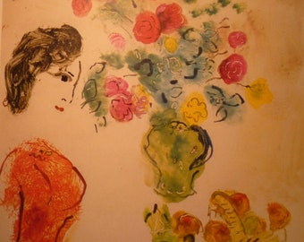 Chagall Profile Portrait Red Blouse and Flowers  - art print - gift for artists  art lovers - Impressionism red yellow and blue framable