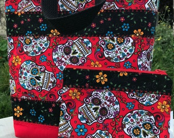 Handmade skull tote bag and zippered pouch set