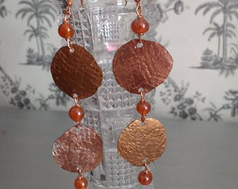 Copper Textured Lovely Rustic Glass Beaded Earrings