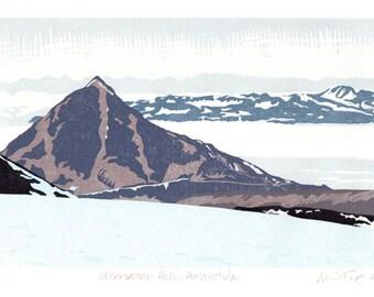 Linocut print.  Observation Hill, Antarctica.
