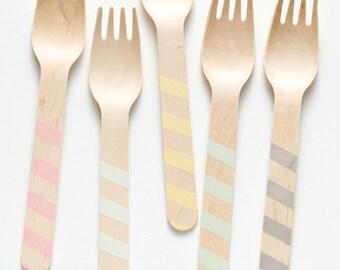 Vintage Stripes - Wooden Utensils -  Great Alternative To Plastic Utensils