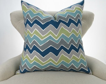 Navy Gray Green Pillow Cover -MANY SIZES- Zigzag Cushion, Navy Blue and Gray Pillow, Chevron Pillow, Seesaw Felix Premier Prints FREESHIP
