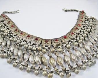 Vintage Statement Bedouin Silver Necklace, Yemeni Choker, Labba Necklace, Yemeni Silver Jewelry