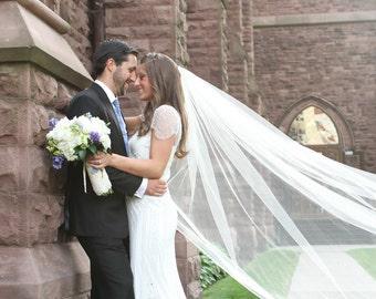 108 inch classic, simple, plain, sheer, cathedral veil, single tier, wedding veil, bridal veil, diamond white, light ivory, blush veil