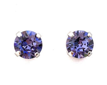 Swarovski Crystal Rhinestone Tanzanite- 39ss Post Stud Earrings