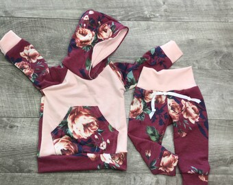 Toddler girl outfit / newborn girl clothes / baby girls joggers /