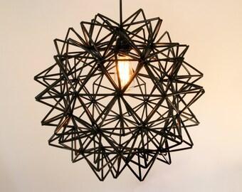 The Seagram Pendant - Black Himmeli Inspired Geometric Spherical Hanging Lamp
