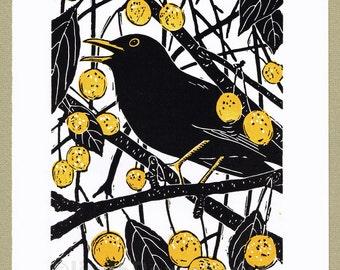 Blackbird bird print, linocut print, limited edition handcut linocut print