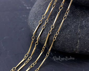 Gold Chain, 1 Meter, Gold Plated Chain, Gold Bar Chain, Gold Plated, Gold Chain, Necklace Chain, Jewelry Supplies, Link And Bar Chain