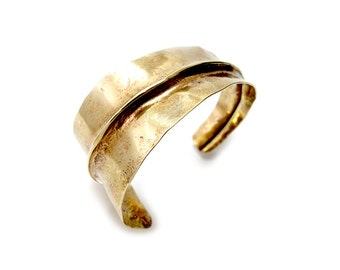 Rustic Brass Cuff - Folded Gold Brass Cuff - Triangular Fold Cuff Bracelet  Forged Gold Cuff Bracelet - Tapered Cuff - Faux Gold Metal Cuff