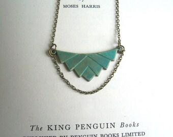 Elegant Verdi Gris Deco necklace - brass pendant with green blue patina - geometric