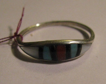 Navajo Multi-Colored Coral Center, Onyx, Turquoise, Mother of Pearl Sterling-Silver Inlay Rings