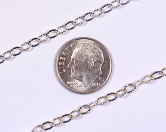 Crinkle Style Cable Chain - Sterling Silver - SS007 - Made in Italy