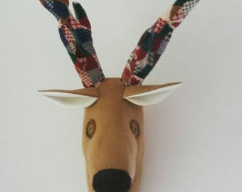 Reindeer head faux taxidermy, Stag Stuffed deer head Woodland theme Fabric trophy head Reindeer wall hanging Stag wall mount