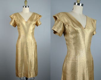 Vintage 1950s Gold Lame Cocktail Dress 50s Metallic Gold Wiggle Dress with Portrait Collar Size S