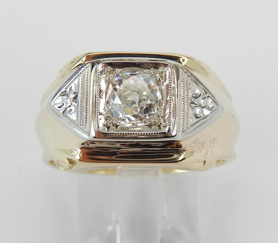 Mens Antique Old Miner Diamond Solitaire Ring Anniversary Band 14k Yellow Gold Size 7.5