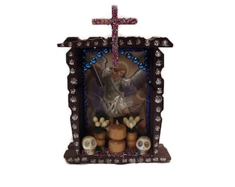 St Michael Altar, Mexican Wood Nicho, Mexican Retablo, Mexican Nicho, Ofrenda Decor, Mexican Altar, Mexican Kitsch, Mexican Folk Art