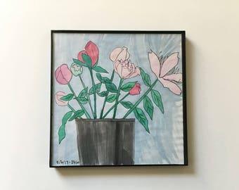 23/100: peonies - original framed watercolor illustration