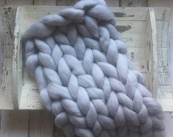 Newborn Photo Prop Hand Knitted Pure Marino Mini Blanket/Basket Layer