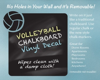 Volleyball Wall Decal   Chalkboard Decal   Volleyball Decal   Volleyball Decor Chalk Board   Dorm Decor   Sports Decor