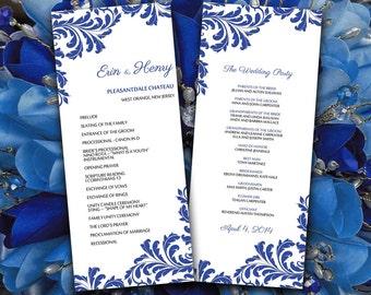 DIY Wedding Program Template -  Vintage Leaf Blue Vintage Flourish Ceremony Program - Printable Tea Length Wedding Program