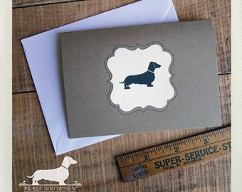 Doxie. Note Cards (Set of 8) -- (Hello, Dog, Dachshund, Simple, Vintage-Style, Brown Kraft Paper, Weiner Dog, Dog Silhouette, Gift Under 15)