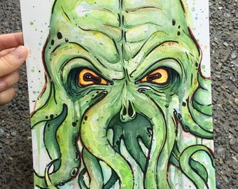 Cthulhu Watercolor Painting, Original Artwork, HP Lovecraft, Geek Fan Art 9x12
