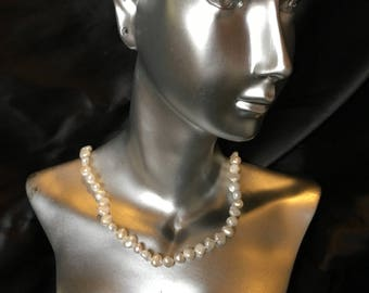 White Baroque Freshwater Pearl Necklace 8mm 18inches long.