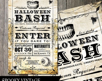 Halloween Bash Party Invitation Poster Vintage Invitation Spooky Party Invite Goth Invite  Skulls Teeth Halloween Holiday Party Poster DIY