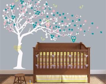 cherry blossom Tree Wall decal -owls Nursery big wall decal -  Wall Decal Large tree great for any room -removable girl nursery wall decor